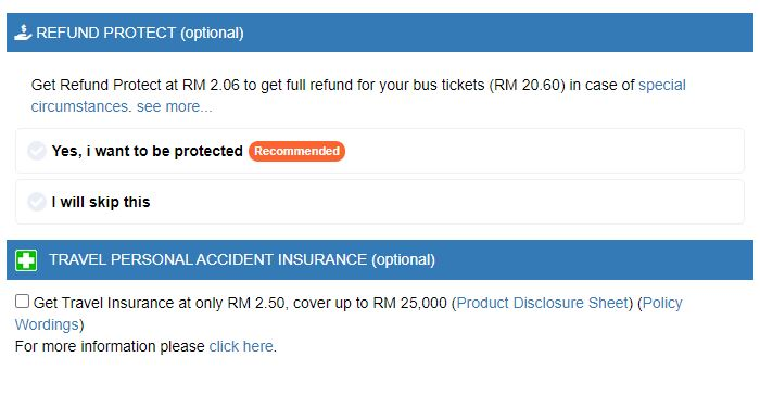 refund dan insurance tiket bas online